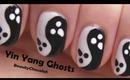 Yin Yang Ghosts Halloween Nail Art - Halloween Nail