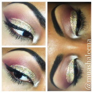 I used MAC 3D Gold glitter all over my lid. The burgundy is from my Coastal Scents 88 color Palette