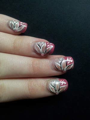 """Nail art I did the other day :)  Credit to youtube """"Tartofraises Nail Art"""" and her video """"Un nail art fleuri sur une french manucure"""" from which this nail art was inspired! Check out the link:  http://www.youtube.com/watch?v=esKF2BA61SI&list=UUDhYH6gY5rd2K_QaZ7plxZQ&index=1&feature=plcp"""