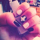 simple yet cute, black and white nails