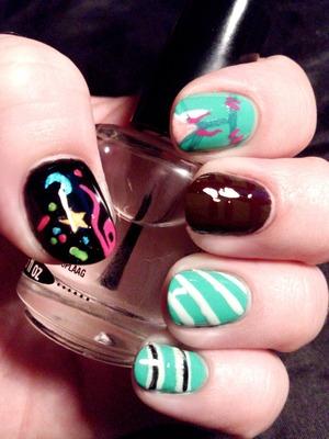 Nail art design inspired by Vanellope Von Schweetz from Wreck It Ralph.