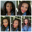 Makeup by me..light makeup with red matte lips