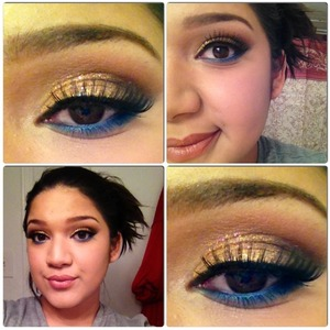 Gold with glitter and a bit of blue!!