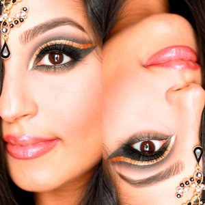 Gold eyeliner cut crease A twist on a black smokey eye! Divine Beauty by Sathi