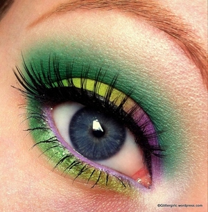 I'm using Makeup Geek, Lime Crime and Sugarpill eyeshadows in this look. :) Check out my facebook page for more pictures: https://www.facebook.com/pages/GlitterGirlC/169478716487621?ref=tn_tnmn