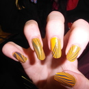 Orange & Grey Water Marble Nails