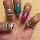 Glitter & Multi-Colored Stripes Jamberry Nails