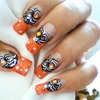 Halloween orange spider nails