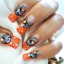 Halloween orange spider nails