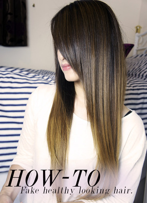 Tutorial on how to make hair look healthier and shinier fast:  http://kakabeautyblog.com/2013/10/01/how-to-fake-healthy-looking-hair-for-dry-damaged-hair/