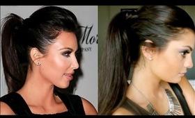 Kim Kardashian Hair Tutorial: Sleek High Ponytail With Bump