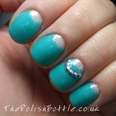 Negative space with Gelish Radiance Is My Middle Name and Studs