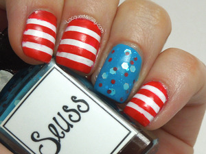 "Dr. Seuss inspired Mani using Whimsical Ideas by Pam ""Seuss"" as an accent nail. For more info please visit my full blog post: http://www.lacquermesilly.com/2013/06/21/dr-seuss/"