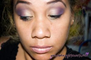 Soft purple & gold look, using motives cosmetics