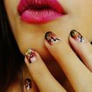 Makeup 4 Ever Fucsia Lipstick & Cherry Blossom Nails
