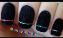 Rainbow Laser Nail Art - Black Velvet Nails - Bornprettystore Review