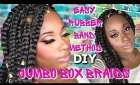 Easy Rubberband Method Jumbo Box Braids on 4c Natural Hair Rubberband Method Braids|| Vicariously Me
