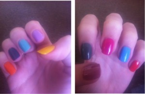 got bored so i decided to paint watch nail a different colour :) these make me happy
