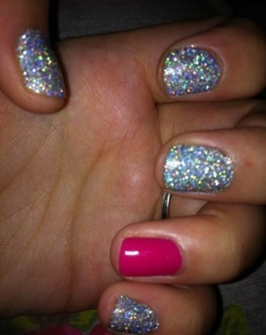 Nails- Barry M, shocking pink and silver stargazer glitter!