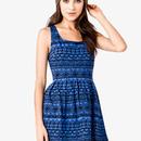 Cute Blue Patterned Dress