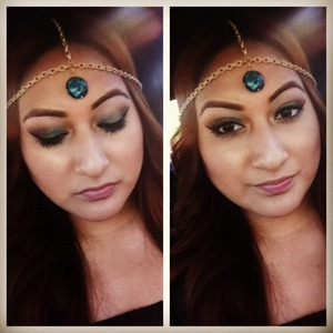Mac Carbon, Laura Mercier caviar stick in turquoise,urban decay eyeshadow Baked and headpiece made by me.