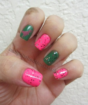 Essie Pink Parka,Pretty Edgy, Wet and Wild Party Of Five Glitters,and Hot Topic Stamping plate