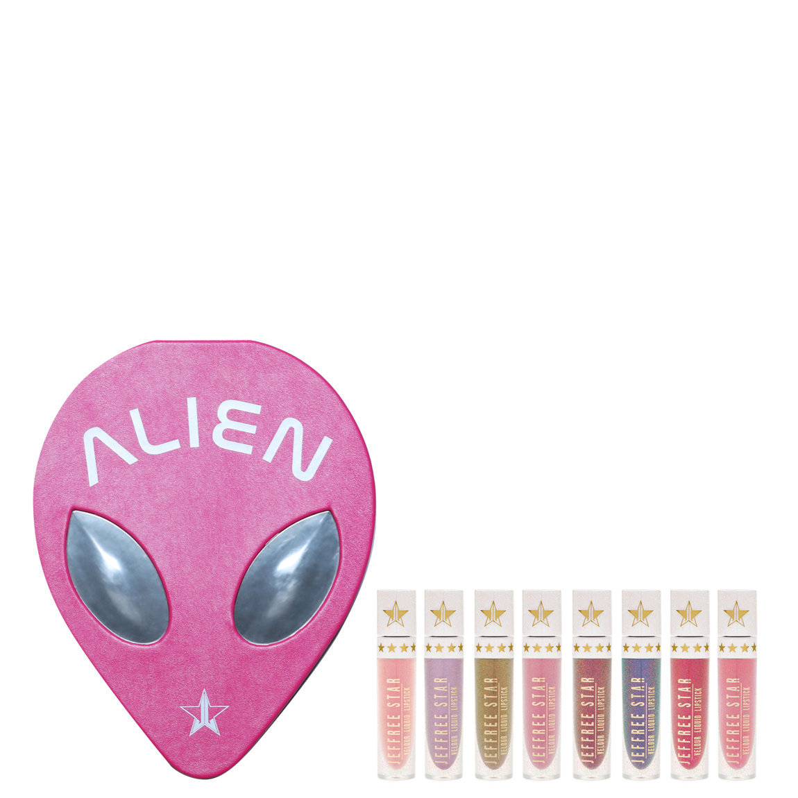 Jeffree Star Cosmetics Alien Palette & Velour Liquid Lipstick Holiday Bundle 2018 product smear.