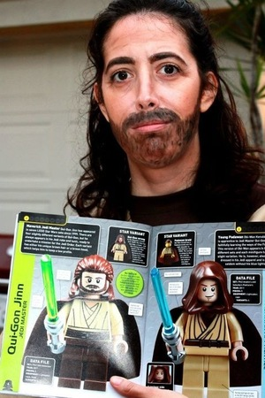 The beard and mustache (mustache) are AWFUL but the theatrical wrinkles and contouring were a blast.  HA HA.  My children thought it was awesome that I opted to go as Qui Gon Jinn instead of the typical pretty peeps like Queen Amidala or Princess Leia.  A