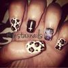 Leopard/galaxy print nails