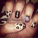 Leopard/galaxy print nails