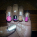 pink, gold and black