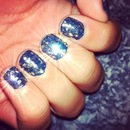 Blue Nails and Gold Glitter