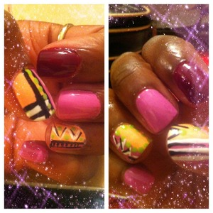 Tribal print nails for valentines.