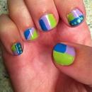 abstract  bright pastel nails