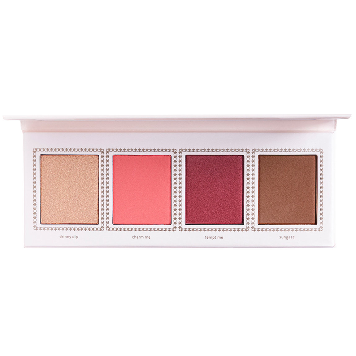 Jouer Cosmetics Champagne & Macarons Face Palette Cheeky Crush product swatch.