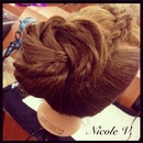 French braid & rose updo