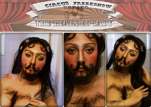 """""""There's the bearded lady – should we laugh or should we cry? Everybody thinks that she's so weird; Is she just a man who likes to dress up as a girl? or could he be a lady with a beard?  See the people pointing, hear the ridicule and scorn, No-one seems to understand her plight, Laughing at the freak on show, well worth the fifty cents Call her names, since you have bought the right.  Look a little closer, past the feathers and the frills, See her tears fall from mascara'd eyes, Trapped inside this body feeling every barb and jibe, No-one ever seems to sympathize.""""  (Poem by KingPoetry Makeup by Hannabal Marie)"""