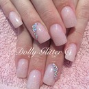 Nude pink glitter...
