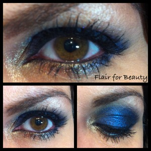 """Blue smokey eye obtained placing blue loose pigments upon a base of black cream eyeshadow. More looks on my facebook page, that I do my best to keep bilingual, so that friends from all over the world can read the posts and click the """"LIKE"""" button ;-)  http://www.facebook.com/pages/Flair-for-Beauty/217232211715190"""