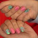 flamingo, leopard nails