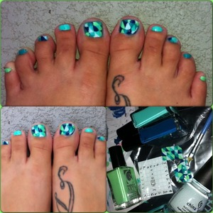 If you know me I hate feet And posting my own piggies is hard for me. I used nabi baby green (medium teal) and refreshmint by china glaZe and a dark teal, bright avo, and baby neon teal in cosmetic arts. I used a plastic bag and graph paper to help create the patterns. I like the left better.  If you like it follow me @ashes_jaded4nails in IG