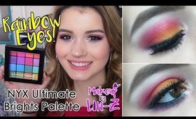 Drugstore Rainbow Eye Makeup Tutorial: NYX Ultimate Brights Palette!