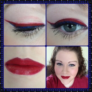 I used a stila eyeliner in bluefin for the blue eyeliner with chaos overtop. Then I used a NYX lip liner for the red with SUGARPILL love+ overtop (I seriously need a red eyeliner). The NYX Matte Lipstick in Alabama for the lips :)