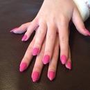 Pink Swarovski nails