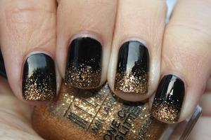 Black coat and a glitter golden tip.