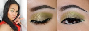 My golden-green sparkle look 03-10-2012 experimenting with green colour