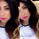 Spring look bright pink lips