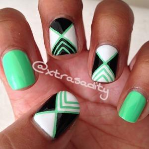 tropical green striping tape mani