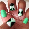 tropical green striping tape mani