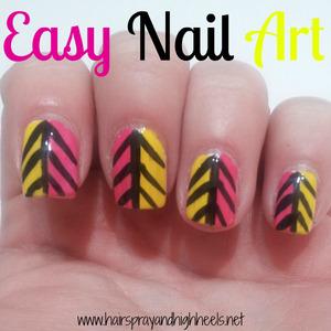 Tutorial on blog http://www.hairsprayandhighheels.net/2013/05/easy-tribal-nail-art.html